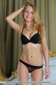 curvy blonde black lingerie