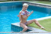 spicy blonde colorful bikini