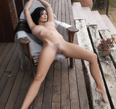 Dark hair cutie flaunts bouncy big tits, hairy pussy and hot as on house