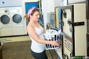 horny babe laundromat caught