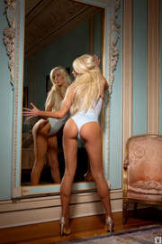 platinum blonde cutie poses