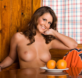 Athletic brown-eyed brunette treat serves herself as part of a delicious