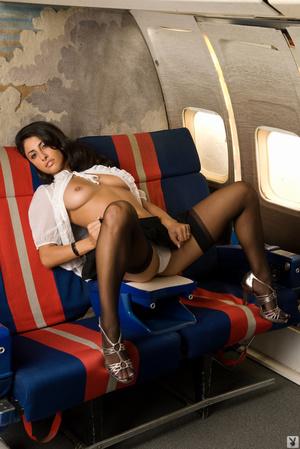 Slutty brown-eyed brunette flight attend - XXX Dessert - Picture 6