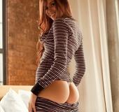 Exotic brown-eyed brunette vamp in striped nightie flaunts big ass, plays