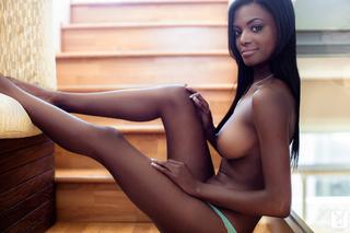 ebony beauty poolside tease