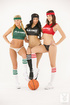Long haired brunette plays rough with two other beauties in skimpy sportswear