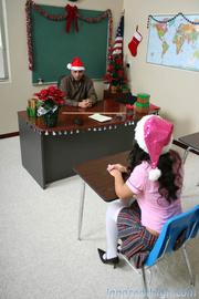 sultry brunette schoolgirl santa's
