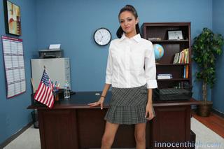 ponytailed latina uniform happily