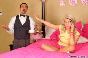Grey eyed blonde in pink lingerie gets h - XXX Dessert - Picture 1
