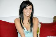 black haired girl blue