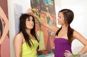 two petite brunettes yellow