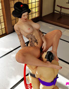 Striking Asian Domme has two sumo wrestlers on hand to worship her body.