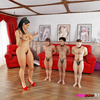 Imposing giantess in red heels has three men licking her pussy and ass