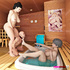 Two busty women have fun in the sauna with their sex slave.