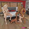 Ebony and ivory Femdom team take on two submissive blokes for BDSM in