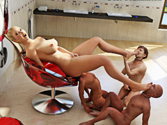 Blonde in red makes three men lick her holes in the - Picture 6