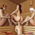Three women in the sauna force a man to pleasure all of them.