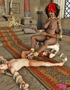 Sexy ebony queen uses her two man servants for vaginal pleasure.