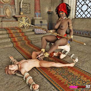 ebony mistress men arm-spreaders