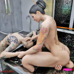 Inked Asian chick gets licked in the bathtub by her - Picture 5