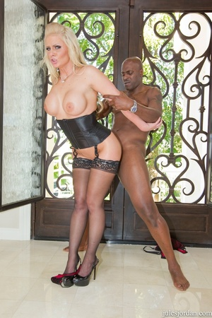 Busty blonde babe leans on the wall for  - XXX Dessert - Picture 13