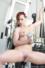 beautiful redhead working out