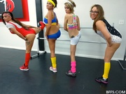 four shapely exercise chicks