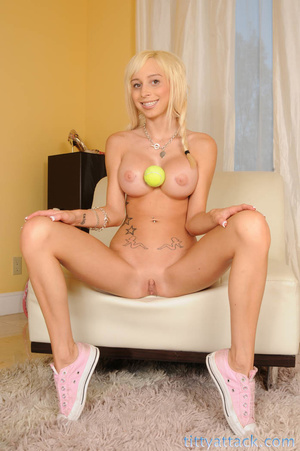 Blonde in pink bikini uses some oil to s - XXX Dessert - Picture 3