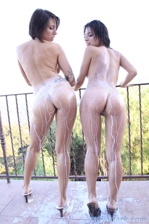 Two hot brunettes with nice ass enjoy so - XXX Dessert - Picture 3