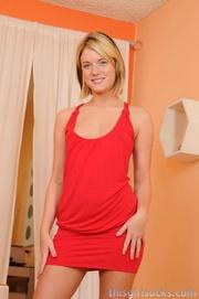 tempting blonde wearing red