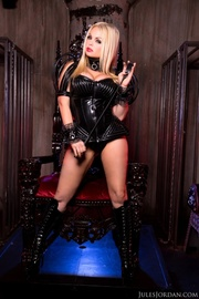 dominatrix blonde teases her
