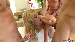 Blonde in white lace gets manhandled by  - Picture 14