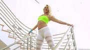 blonde leggings gets her