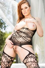 brunette black mesh suit