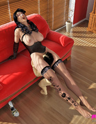 Maven in black lingerie has a man worship her cunt and feet during living