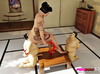 Asian Domme has two submissive sumo wrestlers doing her bidding during