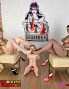 Ebony and white sluts control a small man for their entertainment.