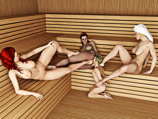Three busty women get pleasure from controlling a - Picture 5