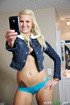 Pierced belly blonde stripteasing and posing nude before blowing dick
