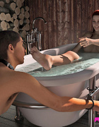 Voluptuous redhead has her man servant pleasure her in the tub.