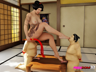 Curvy Asian babe gets two sumo wrestlers to lick her - Picture 6