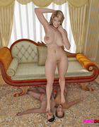 Hot blonde gets two servants to lick her on the sofa.