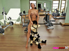 Fitness slut makes two dwarves to fill her pussy with toys.