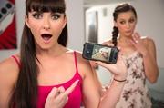 braided brunette gets surprised