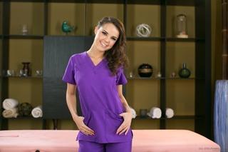 pretty masseuse purple scrubs