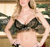Smoking hot blonde milf with huge rack strips off her laced see through