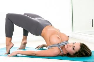 juicy tattooed brunette yoga