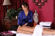 asian masseuse blue robe