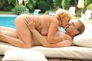 blonde granny orange bikinis