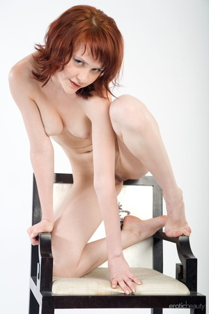 Redhead with snow white skin strips her  - XXX Dessert - Picture 15
